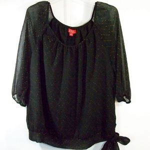 ELLE Sz XL Black Sheer Copper Polka Dot Lined TOP
